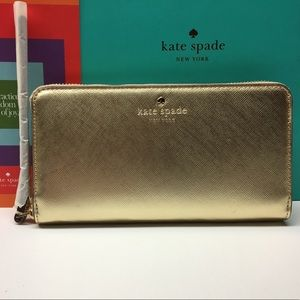 Kate Spade Leather Tech Wristlet (Gold)
